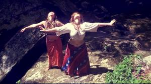 Megan Amigo and I belly dancing in the mountains of Tennessee